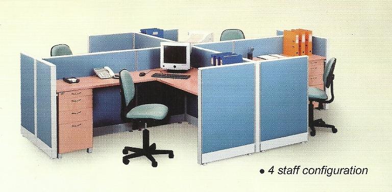 Partisi Kantor uno 4 staff 1 - Partisi Kantor Uno 4 Staff